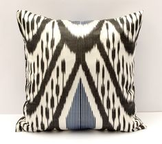 """15x15 black blue white beautiful ikat cushion cover, sofa pillow, pillow, pillows, ikats, ikat by SilkWay on Etsy <a href=""""https://www.etsy.com/listing/264799407/15x15-black-blue-white-beautiful-ikat"""" rel=""""nofollow"""" target=""""_blank"""">www.etsy.com/...</a>"""