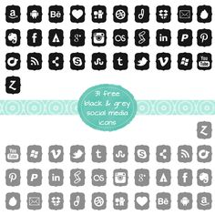 Freebie! - Black & Grey Social Media Icons for blogs and websites - http://thedutchladydesigns.blogspot.nl/2014/05/free-black-grey-social-media-icons.html