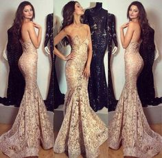Sexy Tight Mermaid Evening Dresses Sweetheart Lace SweepTrain Backless Gold Evening Gowns 2015 Formal Pageant Dress For Women HY, $184.3 | DHgate.com