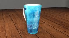 Cappuccino mug with my painting: Waterfountain and the Ghost - by Agota Horváth by ArtMarketManufactory on Etsy Collectible signed porcelaine coffee tee cup modern abstract fine art handmade painting by Ágota Horváth