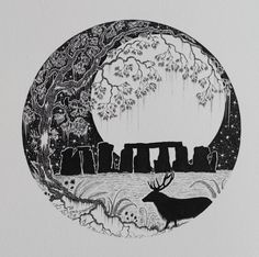 The Stag of Stonehenge is an original silhouette black and white unframed circular pen and ink illustration of a stag, moon and Stonehenge.