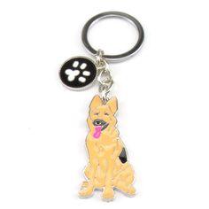 PET Key Chains Dogs Keychains Keys German Shepherd Dog Key Holder Zinc Alloy Charms for Bags Wholesale Animal Keyring GIFT MAN