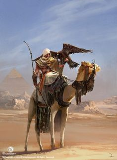 View an image titled 'Bayek & Dromedary Art' in our Assassin's Creed Origins art gallery featuring official character designs, concept art, and promo pictures. Arte Assassins Creed, Assassins Creed Black Flag, Assassins Creed Origins, Assassins Creed Odyssey, Asesins Creed, All Assassin's Creed, Illustration Fantasy, Assassin's Creed Wallpaper, Connor Kenway