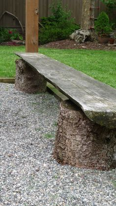 a bench from logs