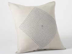 linen pillow with delicate french knots