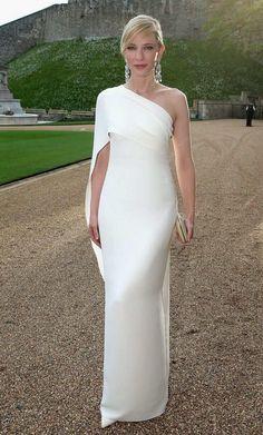 59f6bd2c9f Cheap Cate Blanchett de noche blanco vestido tubo un sólo hombro plisado  satén de longitud elegante