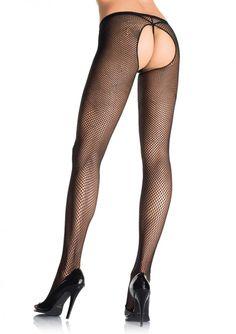 Netz-Strumpfhose offener Schritt in Schwarz Fishnet Tights, Fishnet Stockings, Stockings Lingerie, Sexy Lingerie, Black Fishnets, Black Pantyhose, Sheer Lace Top, Long Gloves, Thigh High Socks
