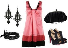 """""""Formal Look Inspired by Belle's Pink and Red Outfit ~ For a special occasion look, I used a gorgeous pink and red dress and paired it with black accessories. Do the earrings look familiar to you? Their shape is reminiscent of our favorite talking candlestick, Lumière."""""""