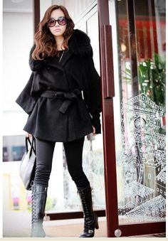 Free Shipping Real Fox Fur Collar Women's Long Black Coat Fur Jacket Wool Clothes Plus Size Wholesale on AliExpress.com. $64.88