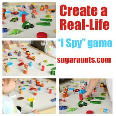 """Use little toys around the house to create a real-toy """"I Spy"""" game. Explore and learning games for all ages. By The Sugar Aunts games Literacy Activities, Educational Activities, Toddler Activities, Preschool Activities, Preschool Curriculum, Indoor Activities, I Spy Games, Games For Kids, Learning Activities"""