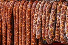 Various types of romanian sausages carnati , smoked and dried, exposed for sale Shall specify for the month of December Hungarian Sausage Recipe, Hungarian Recipes, Cookbook Recipes, Cooking Recipes, Chorizo, Romania Food, Homemade Sausage Recipes, Tapas, How To Make Sausage