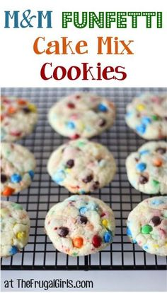 Funfetti M and M Cake Mix Cookies Recipe! ~ from TheFrugalGirls.com ~ if you're looking for a seriously FUN cookie, this is it! {just 4 ingredients!} #cookie #recipes #thefrugalgirls