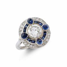 Diamond and sapphire cluster ring — Bear Brooksbank