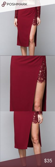 Lace Split Skirt Red pencil skirt with split that is accented with lace!  Available in S, M, L.  She'll 100% Polyester, Lining 70% Cotton/ 30% Nylon do + be Skirts Pencil