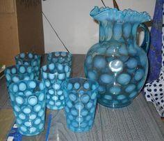 RARE Antique Fenton Blue Coin Dot Lemonade Set Art Glass