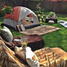 Go camping in your own backyard. Backyard glamping party - perfect for a tween sleepover