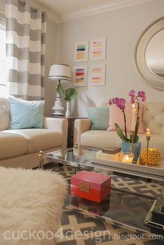 pink, orange and gold decorative box makeover for the living room, a girls night room