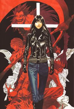 Tags: DEATH NOTE, L Lawliet, Ryuk, Yagami Raito, Scan, Obata Takeshi, Blanc et Noir, Official Art, Misora Naomi