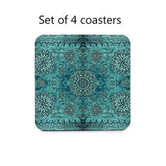 This set of 4 drink coasters features a reproduction of my textured lace painting in teal (non-metallic). My artwork is printed and sealed in a high gloss laminate by my manufacturing partners. The hardboard coasters have cork bottoms to help prevent scratching or marring your tables and counters. These decorative coasters are great for either hot or cold drinks. They make great housewarming or hostess gifts, too!  Set of 4 coasters, 4 square, 1/8 thick.  *********************** Shipping...