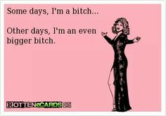 Some days I'm a bitch ... #ecard #humor For more quotes and jokes, check out my FB page:  https://www.facebook.com/ChanceofSarcasm