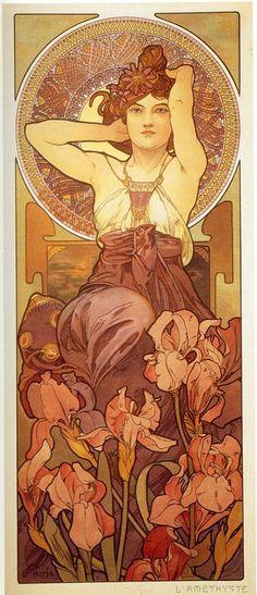 Alphonse Mucha (Czech, 1860 - 1939). The Precious Stones: Amethyst, 1900. Color Lithograph