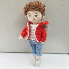 Amigurumi crochet boy doll pattern available on etsy by LittleBeauMouse