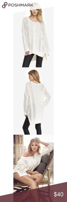 Express open stitch tunic sweater- white Open stitch tunic sweater from Express. Features a high/low hem and round neck. Oversized. Perfect for the cozy comfy look! In great condition. Express Sweaters