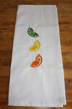 candied citrus hand embroidered on flour sack fabric - machine washable! Flour Sacks, Euro, Fabric, Tejido, Tela, Cloths, Fabrics, Tejidos