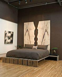 chambre-a coucher déco-originale peinture et design unique en beige sclupture