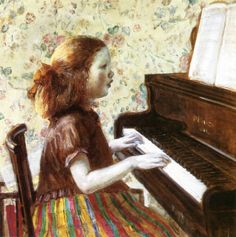 Child at Piano (Frederick Carl Frieseke - 1923)