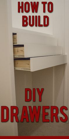 by step instructions to build DIY wooden drawers for installation in a custom closet.Step by step instructions to build DIY wooden drawers for installation in a custom closet. Closet Drawers, Diy Drawers, Wooden Drawers, Storage Drawers, Cabinet Drawers, How To Make Drawers, Alcove Storage, Attic Storage, Small Drawers