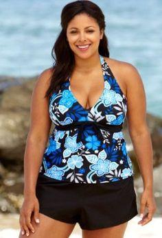 2a7fad4e71d Blue Maui Plus Size Halter Tie Front Board Shortini - Women s Swimwear Plus