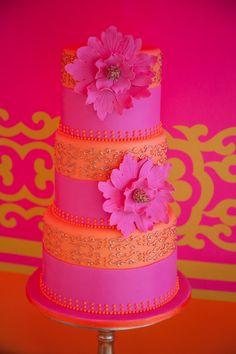 Hot Pink and Bright Orange Wedding Cake - Indian Inspired Wedding Bollywood Cake, Bollywood Wedding, Bollywood Party, Indian Cake, Indian Wedding Cakes, Indian Weddings, Orange Weddings, Wedding Orange, Gold Wedding