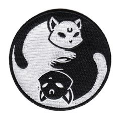 Yin-yang to some, meow-mix to others. embroidered iron-on patch by Killstar! Pin And Patches, Iron On Patches, Diy Patches, Yin Yang, Moon Spells, Cat Patch, Mermaid Blanket, Crochet Patterns For Beginners, Craft Stick Crafts