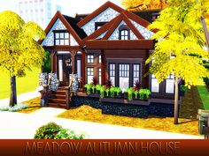 Cozy Autumn House with one living room,bedroom,bathroom and kitchen. Found in TSR Category 'Sims 4 Residential Lots' Sims Building, Building A House, The Sims 4 Lots, Granite Falls, Sims 4 Build, Outdoor Retreat, Autumn Cozy, Sims House, City Living