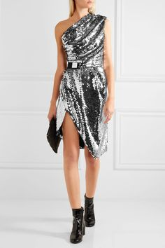 Black and silver sequined mesh Concealed zip fastening along side 100% polyester Specialist clean Designer color: Money