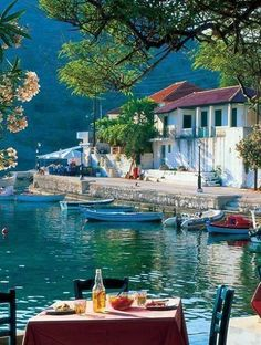 Lunch here would be so perfect ! Assos, Kefalonia Island, Greece.