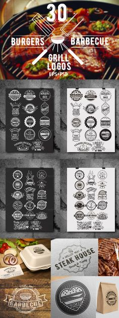 That's 30 vector logos that you can use for branding projects, labels, typography and more. If you are looking for a elegant logo, a badge or a simple Burger Bar, 30 Burgers, Badge Design, Logo Design Template, Flyer Design, Logo Templates, Typography Invitation, Typography Logo, Bakery Logo