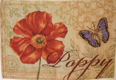 Red, Orange, and Beige Poppy and Butterfly Tapestry Placemats (Set of 4) WindhamHome http://www.amazon.com/dp/B00JBH7D58/ref=cm_sw_r_pi_dp_6Uklub0ZHAN43