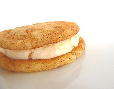 Snickerdoodle pumpkin cream cheese sandwich cookies