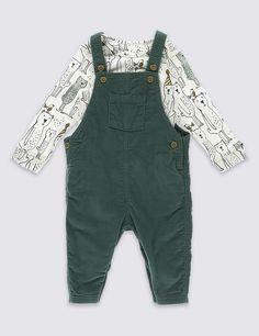 Pure Cotton Dungarees & Bodysuit