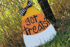 Candy Corn Door Hanger Wooden Wreath Wood Cutout Halloween Fall Decor Sign on Etsy, $30.00