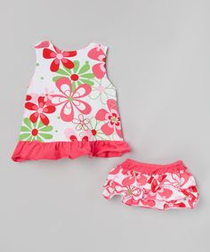 Another great find on #zulily! Hot Pink & Lime Floral Tunic & Diaper Cover - Infant & Toddler #zulilyfinds
