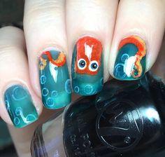 "Hank the septopus from Disney/Pixar's ""Finding Dory"" Disney Pixar, Art Disney, Hair And Nails, My Nails, Frozen Nails, Cruise Nails, Heart Nail Art, Funky Nails, Disney Nails"