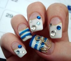 Having short nails is extremely practical. The problem is so many nail art and manicure designs that you'll find online Anchor Nail Designs, Anchor Nail Art, Nail Art Designs, Love Nails, How To Do Nails, Fun Nails, Pretty Nails, Bling Nail Art, Bling Nails