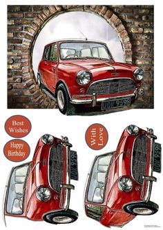The iconic Mini appearing through a hole in the wall. Decoupage the car.