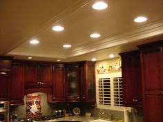 "Idea for replacing the ""lovely"" fluorescent lighting in the kitchen."