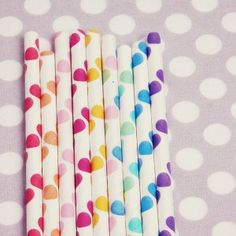 Polka Dot Paper Straws - rainbow collection of colours ~ A Party in a Box / Etsy