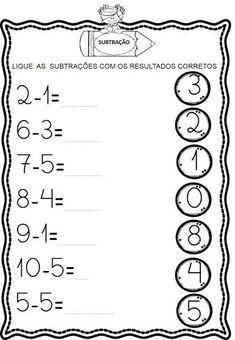 Atividades de Subtração Kindergarten Math Worksheets, Writing Worksheets, Toddler Learning Activities, Math Activities, Math Subtraction, Preschool Writing, Comprehension Worksheets, Math For Kids, Math Lessons
