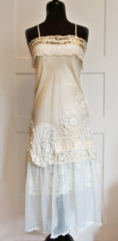 Gatsby altered vintage slip dress with doilies, lace, tulle, wedding, eco wedding, special occasion womens small on Etsy, $175.00